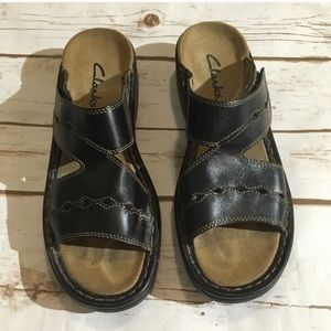 Clarks leather sandals Velcro on side